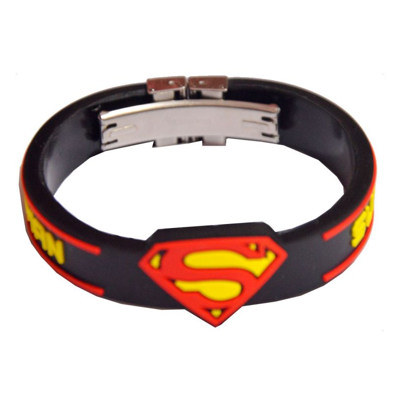Buy Men Style Superman Inspired Embossed Silicone Wristband With Lock -black B online