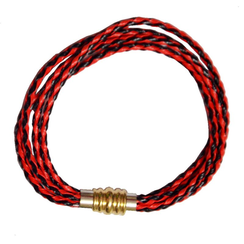 Buy Men Style Good Quailty Real Leather Fourth Wrap Braided Gold Stainless Steel online