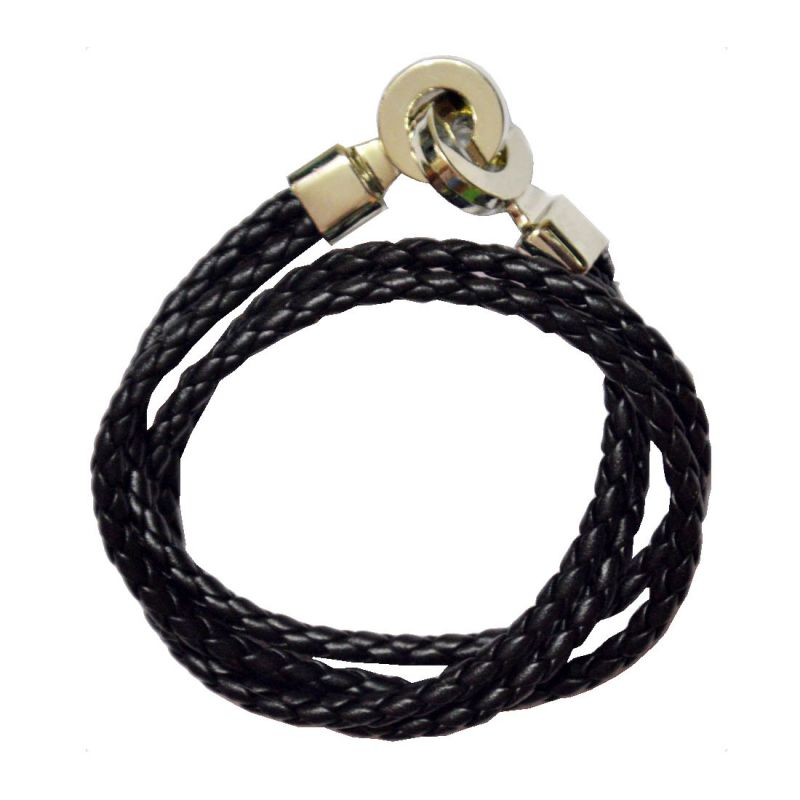 Buy Men Style High Quality Stainless Steel Double Braided Black Leather Bracelet For Men And Women online