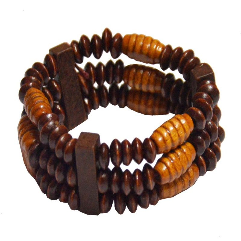 Buy Men Style Handmade Multicolor Wood Bracelet For Men And Women online