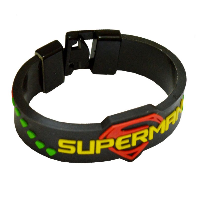 Men Style Superman Inspired Embossed Silicone Wristband Multicolour Rubber Bracelet For Sbr04003 Online Best Prices In India Rediff Ping
