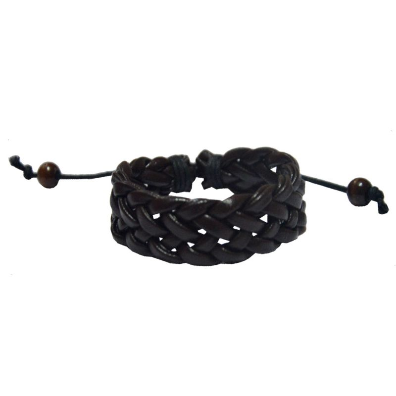 Buy Men Style New 2016 Braided For Friendship Gift Brown Faux Leather Braided Bracelet For Men And Women online