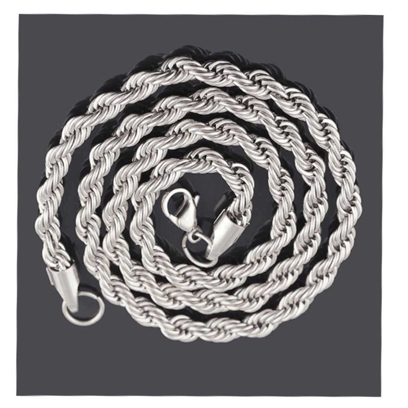 Buy Men Style 5mm 14k White Silver Rope Design Chain Necklaces (24 ...