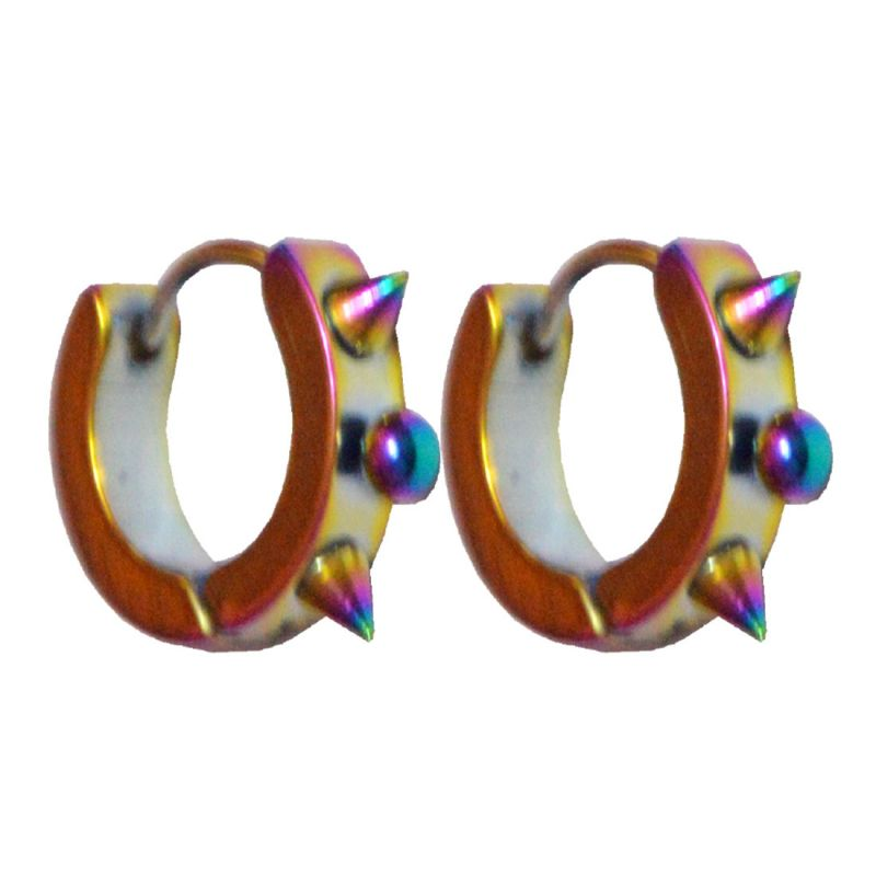 Buy Men Style Best Quality Korean Styles Punk Rainblow 316l Multicolour Stainless Steel Round Hoop Earring For Men And Boy online
