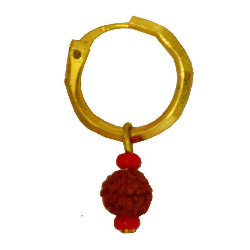 Buy Men Style Rudraksha Gold Wood Round Hoop Earring For Men And ...