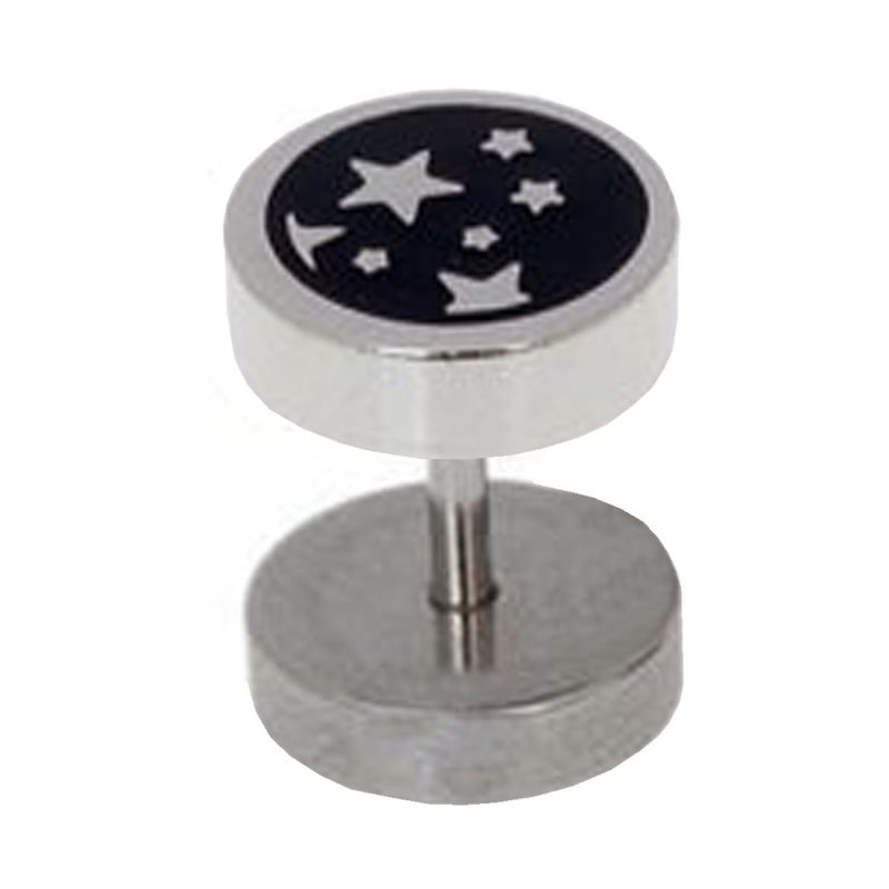Buy Men Style Best Quality Korean Made Many Stars 8mm Thickness Silver 316 L Stainless Steel Dumbell Stud Earring For Men And Boy Ser05007 online