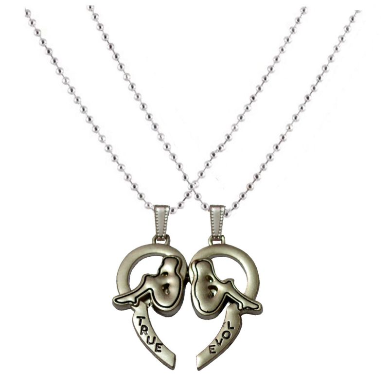 Buy Men Style Best Gift Ideas for Her And His Romantic Couple True Love Silver Zinc Alloy Heart Pendant For Men And Women online