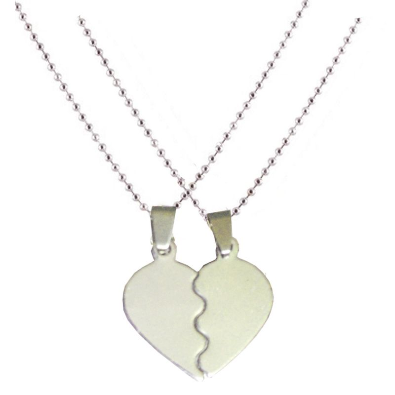 Buy Men Style Couples His And Her Love Heart Silver Stainless Steel Heart Necklace Pendent For Men And Women Spn011018 online
