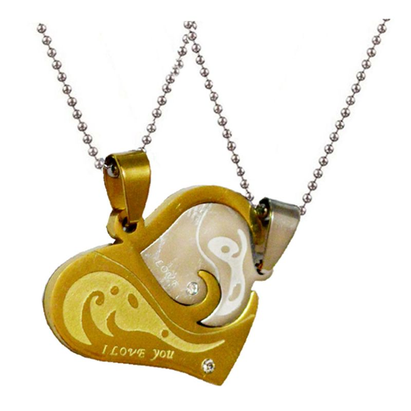 Buy Men Style Gold And Silver Stainless Steel Couples Heart I Love You Heart Pendent Spn011022 online