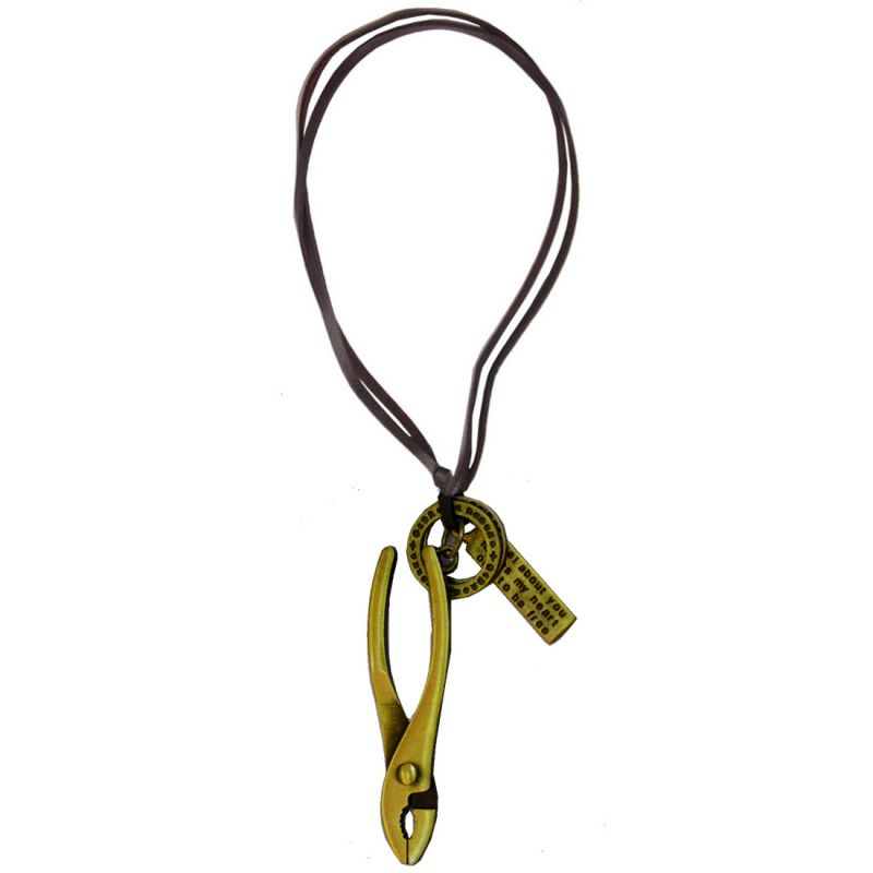 Buy Men Style Bronze Plier Gold Bronze And Leather Jesus Cross Pakkad Necklace Pendant For Men And Boys online