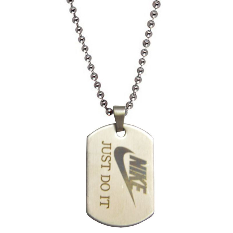 Buy Men Style Nike Just Do It Inspired Grey Stainless Steel Square Pendent Fo online