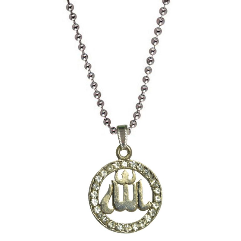 Buy Men Style Diamond Allah Silver Alloy Circle Pendent For Men And Women online