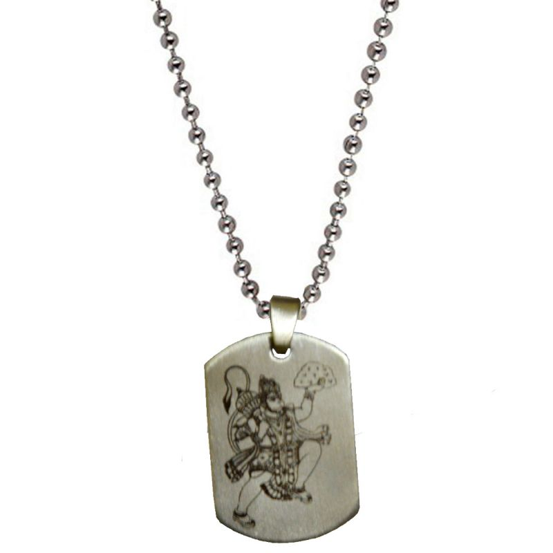 Buy Men Style Jai Hanuman Plated Silver Stainless Steel Sqaure Pendent For Men And Boys Spn04012 online