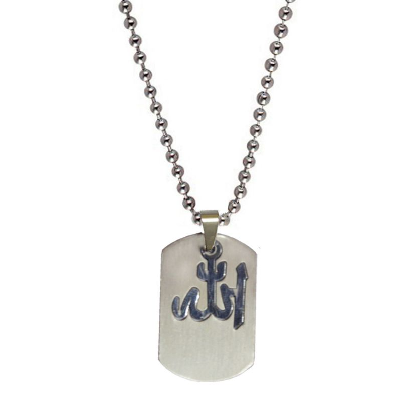 Buy Men Style New Arrvial Allah Plated Silver Stainless Steel Square Pendent For Men And Women Spn04031 online