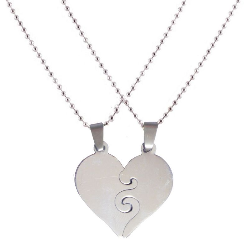 Buy Men Style New Arrvial Couple Heart Love Silver Stainless Steel Pendent For Men And Women Spn04032 online