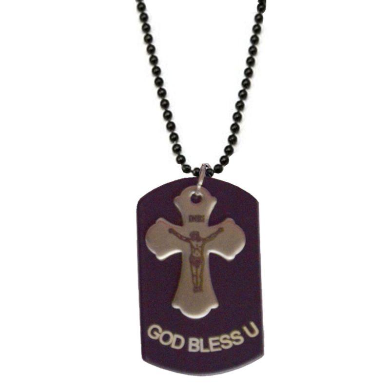 Buy Men Style God Bless U Jesus Cross Black Alloy Square Pendent For Men And Women Spn04033 online