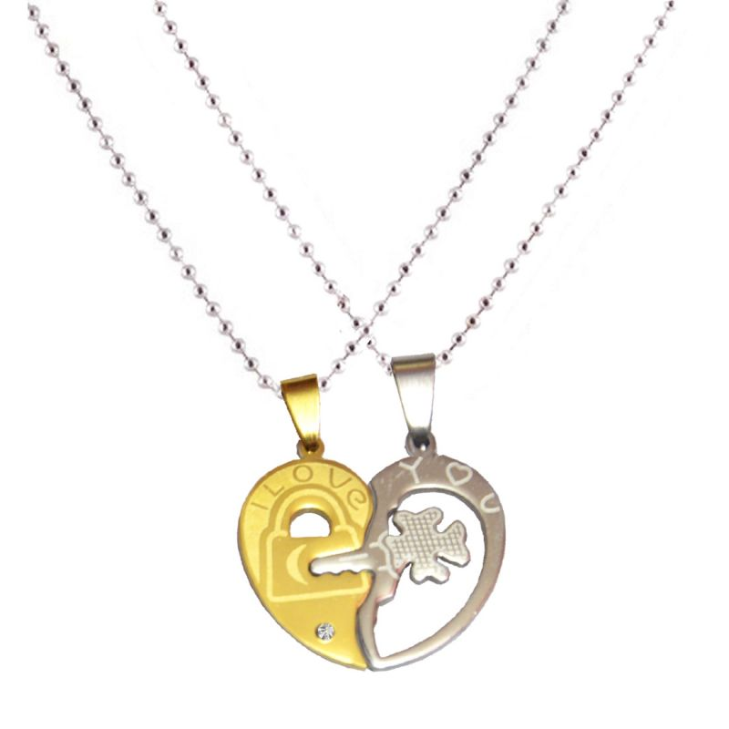 Buy Men Style His And Hers Love Couple Gold And Silver 316 Stainless Steel Heart Shape Pendent For Men And Women Spn5004 online
