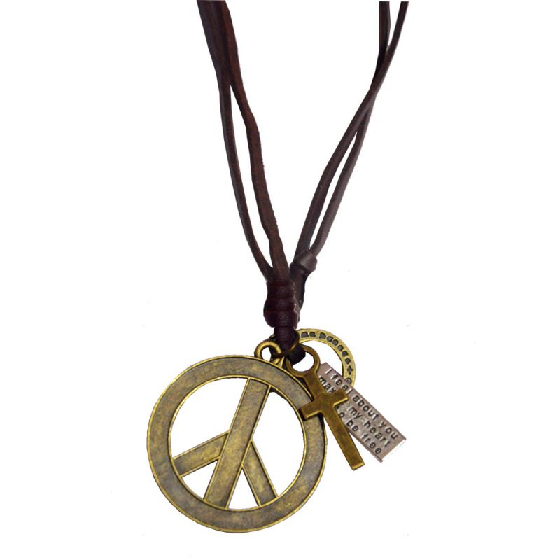 Buy Men Style Peace Symbol Gold Leather Pendent For Men And Women Spn05008 online