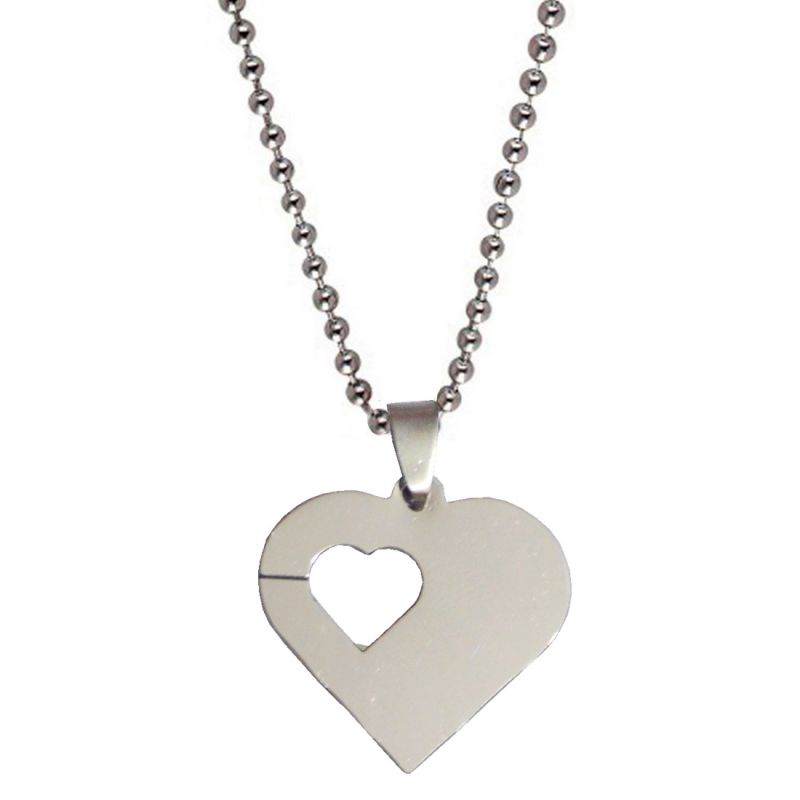 Buy Men Style Love Silver 316 Stainless Steel Heart Shape Pendent For Mn And Women Spn05009 online