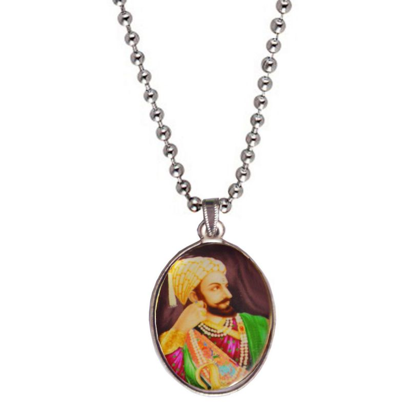 Buy Men Style Chhatrapati Shivaji Maharaj Multicolor Alloy Oval Pendent For Men Spn05031 online