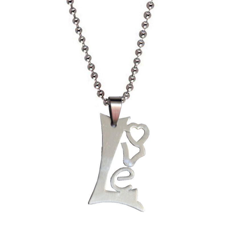 Buy Men Style High Polished Love Letter Shape Silver Stainless Steel Letter Pendent For Men And Women Spn05085 online