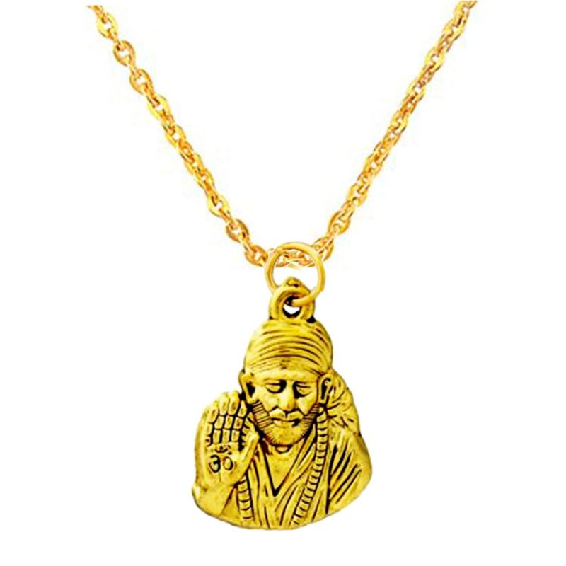 Buy Men Style Gold Saibaba Chain Pendant Online   Best Prices in ...