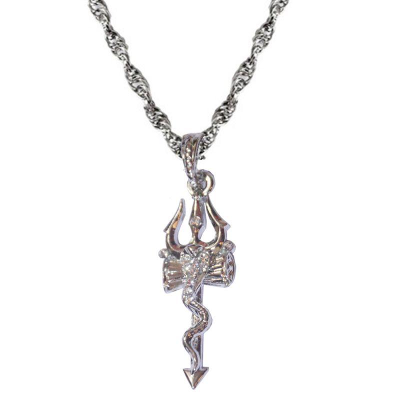 Buy Men Style Silver Shiva Trishul With Cobra Chain Pendant Online ... 722a77b8e