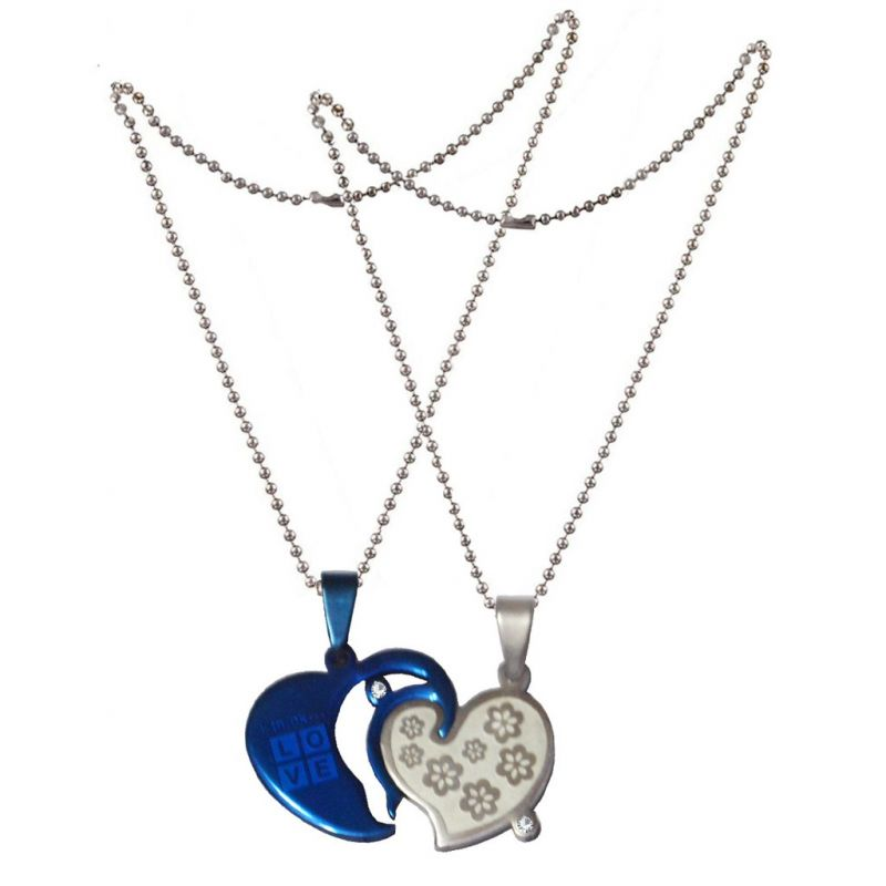 Buy Men Style Couple his and her Gold Plated LOVE Letter Necklance Best Gift Heart Pendant online