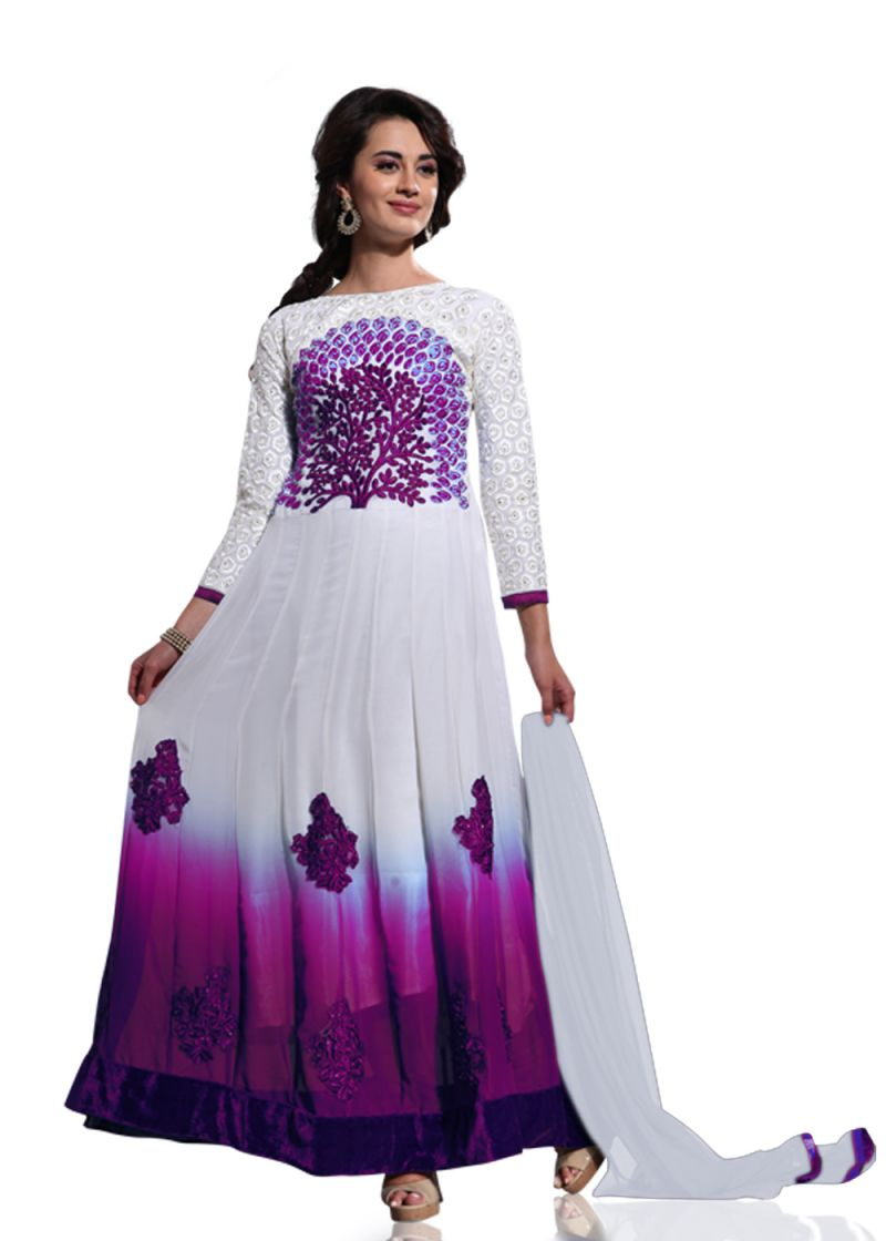 Buy Stylish Fashion White And Purple Embroidered Anarkali Suit Sfvipul-1005 online