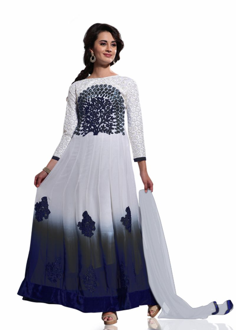 Buy Stylish Fashion White And Black Embroidered Anarkali Suit Sfvipulb-1003 online