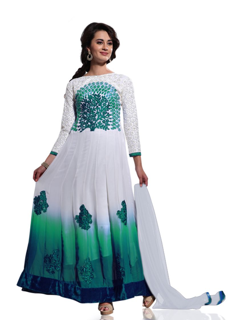 Buy Stylish Fashion White And Green Embroidered Anarkali Suit online
