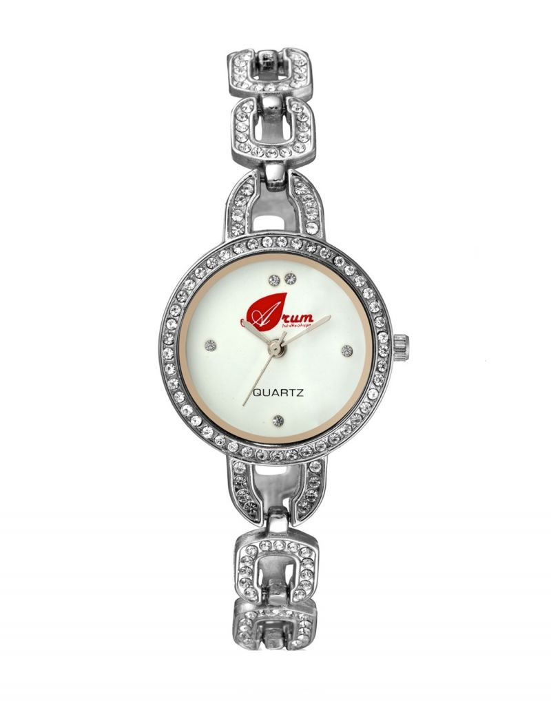 Buy Arum White Silver With Stone Round Ladies Watch online