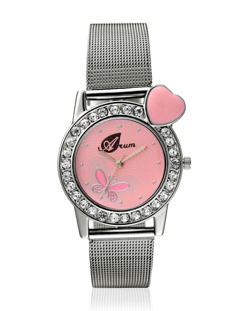 Buy Arum Latest Designer Pink Heart Watch For Girls Online | Best ...