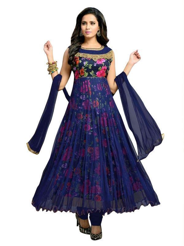 Buy Navy Blue Net Semi-stitched Anarkali Suit For Women - (product Code - 209632) online
