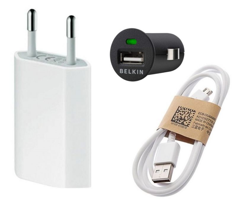 Buy Fliptech OEM Travel Charger Combo With Belkin Car Adapter For Samsung Galaxy Grand Neo online