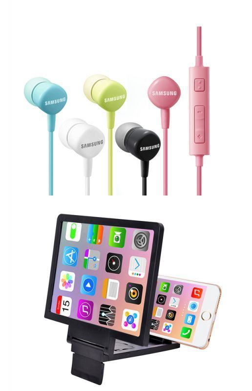 Buy Snaptic 3d Mobile Magnifier Screen & OEM Samsung Hs-130 Earphones With Mic online