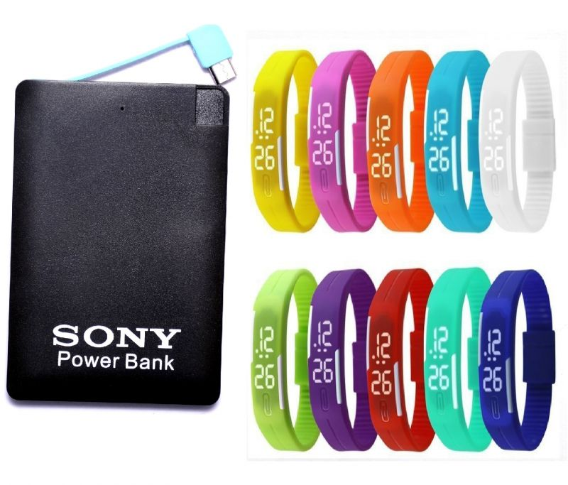 Buy Sony Slim Credit Card Power Bank - 2600mah With LED Watch (oem) online
