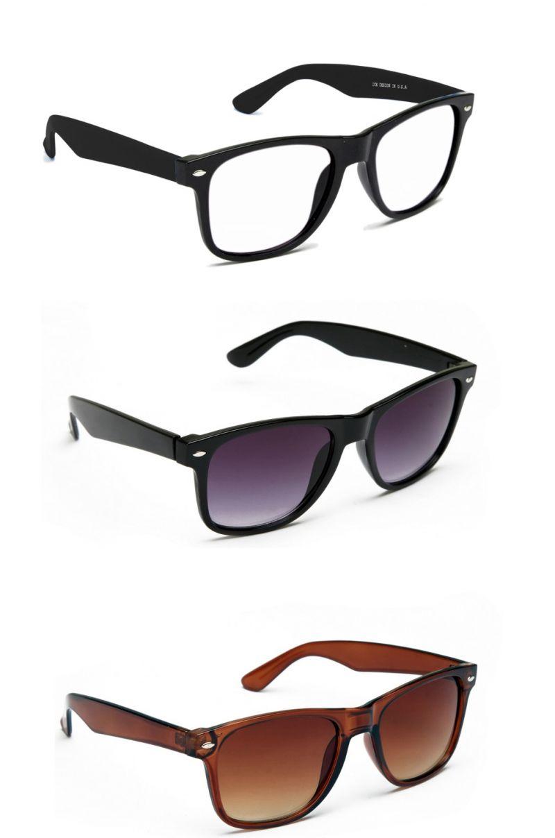 Buy Blue-tuff Stylish Black Wayfarer Sunglasses Set Of 3 online