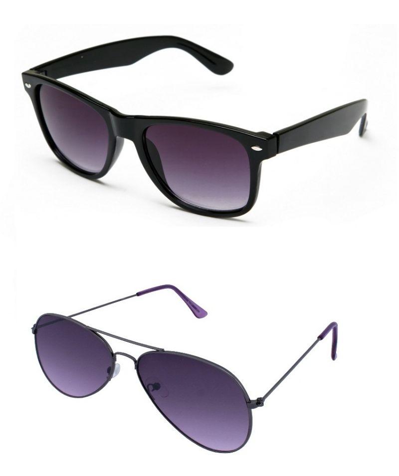 Buy Blue-tuff Mens Wayfarer Aviator Sunglass Combo-black/purple online