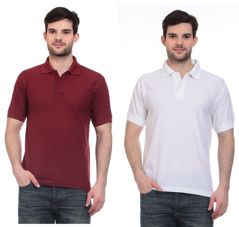Buy Blue-tuff Polo Neck Multi Trending Plain T-shirt-pack Of 2 online