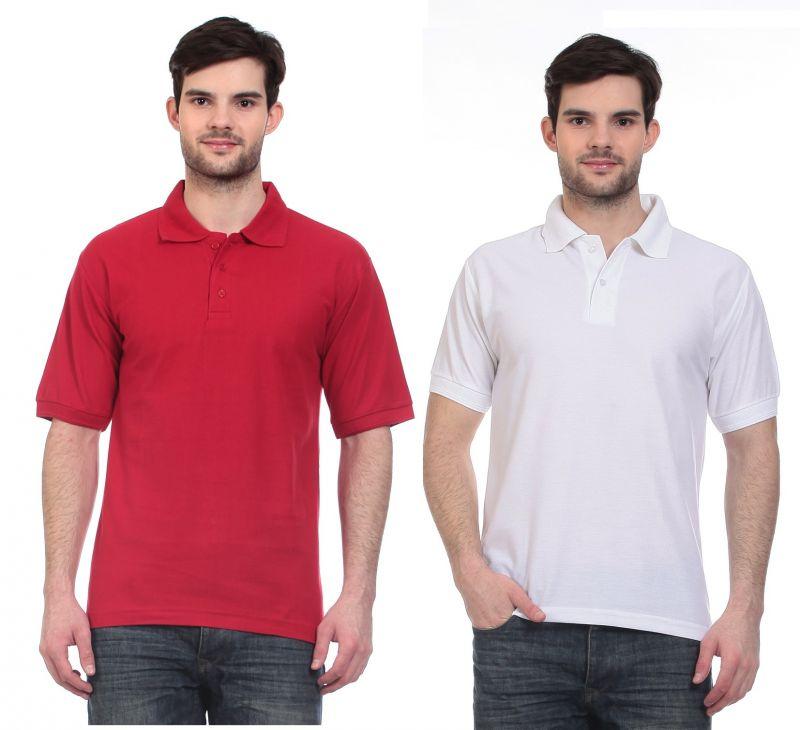 Buy Blue-tuff Polo Neck Multi Trending Plain T-shirt-pack Of 2 online