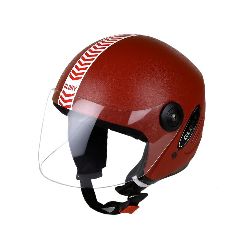 Buy MP Glory Red Open Face Motorcycle Scooter Helmet For Gents/boys With Isi Mark online