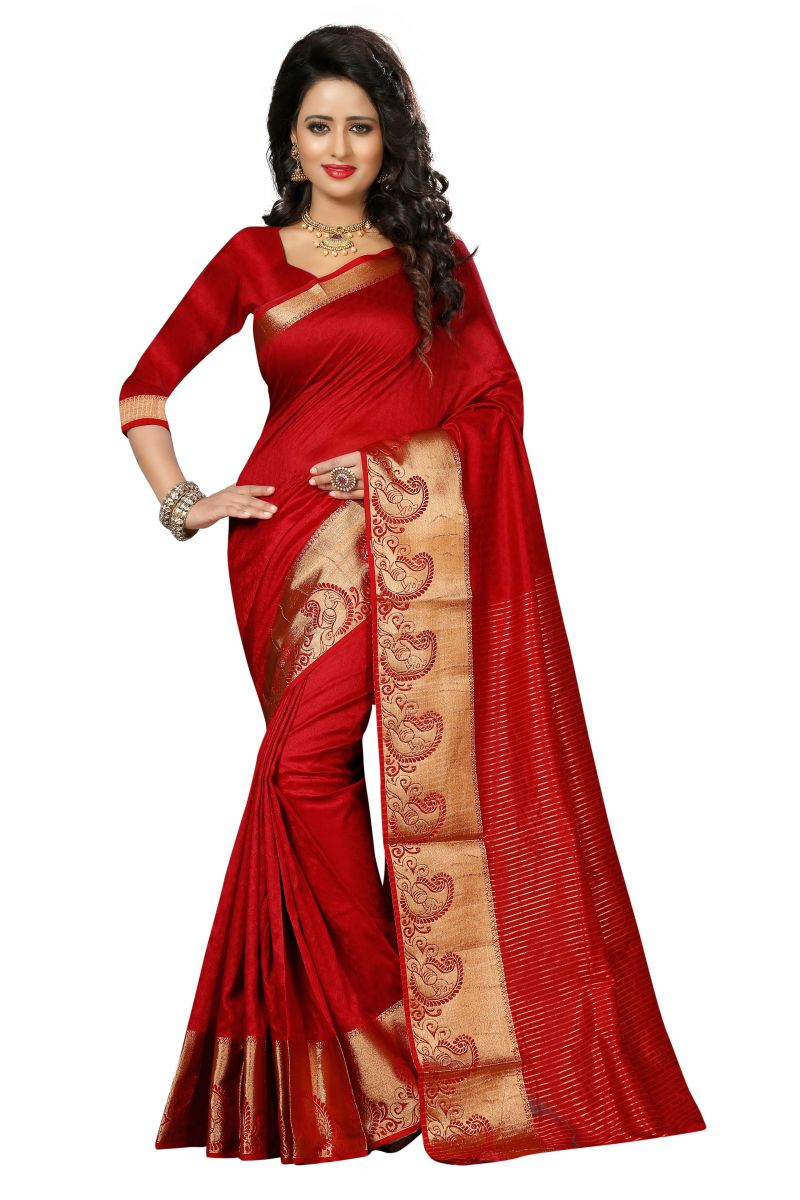 Buy See More Self Design Red And Golden Colourwoven Work Art Silk Saree With Unstitched Blouse Piece online