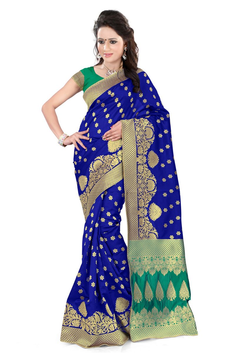 Buy See More Self Design Blue And Green Color Banarasi Silk Saree online