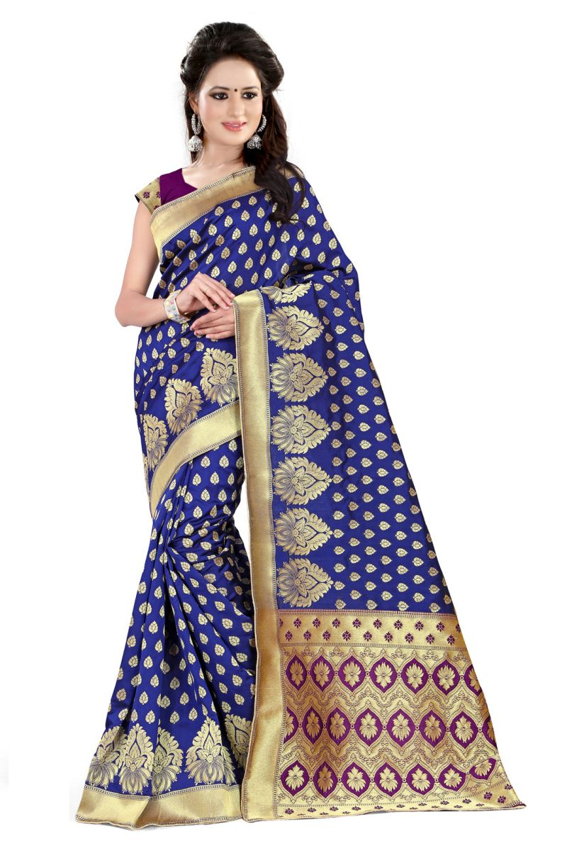 Buy See More Self Design Blue And Purple Color Banarasi Silk Saree online