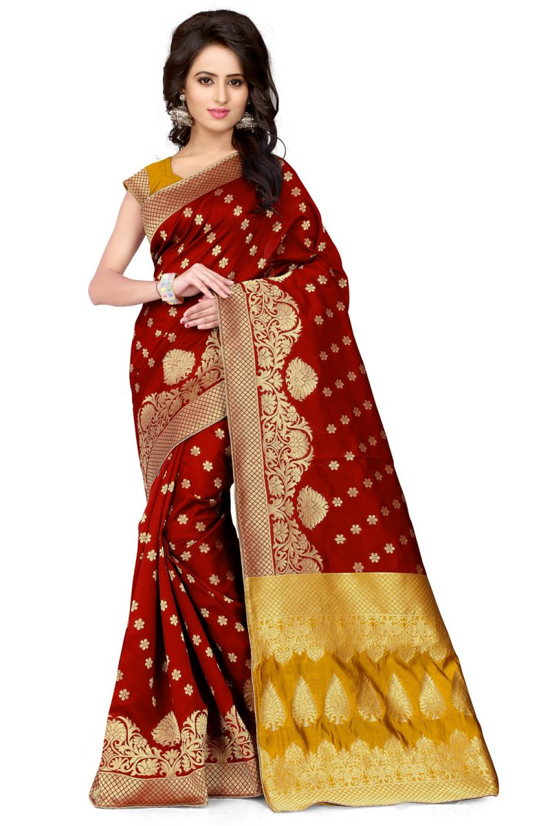 Buy See More Self Design Maroon And Mustard Color Banarasi Silk Saree online
