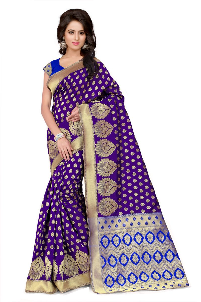 Buy See More Self Design Purple And Blue Color Banarasi Silk Saree online
