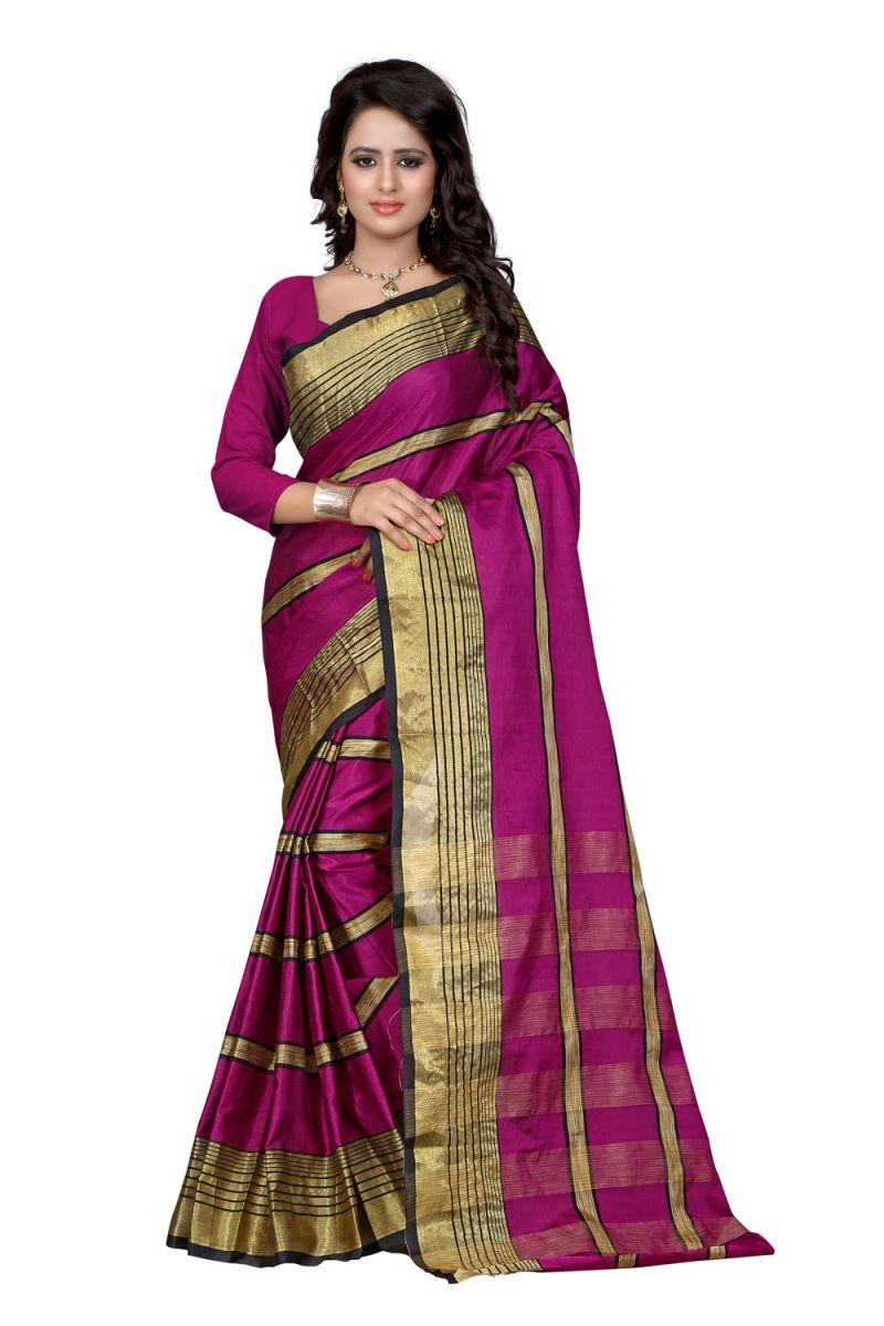 Buy See More Self Design Majenta Color Poly Cotton Sar online