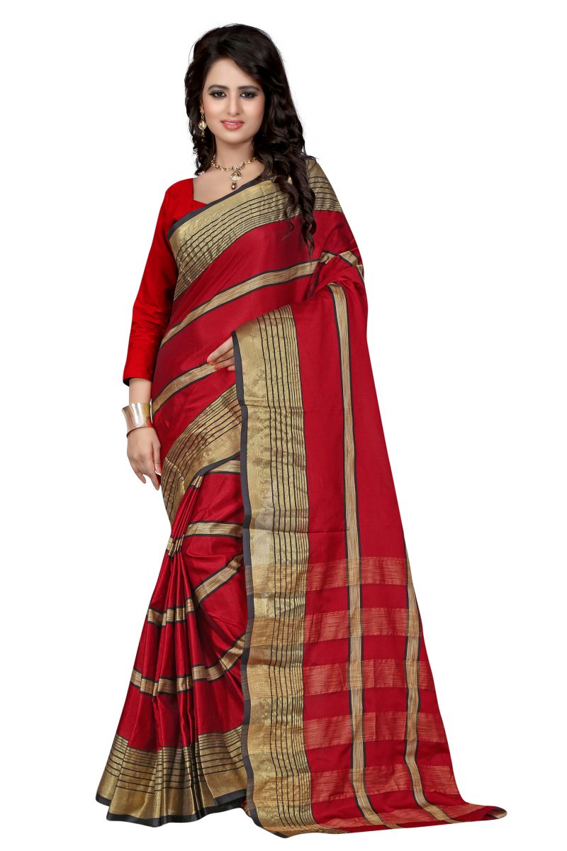 Buy See More Self Designer Red Colour Cotton Saree With Blouse For Women Aura Beauty Red online