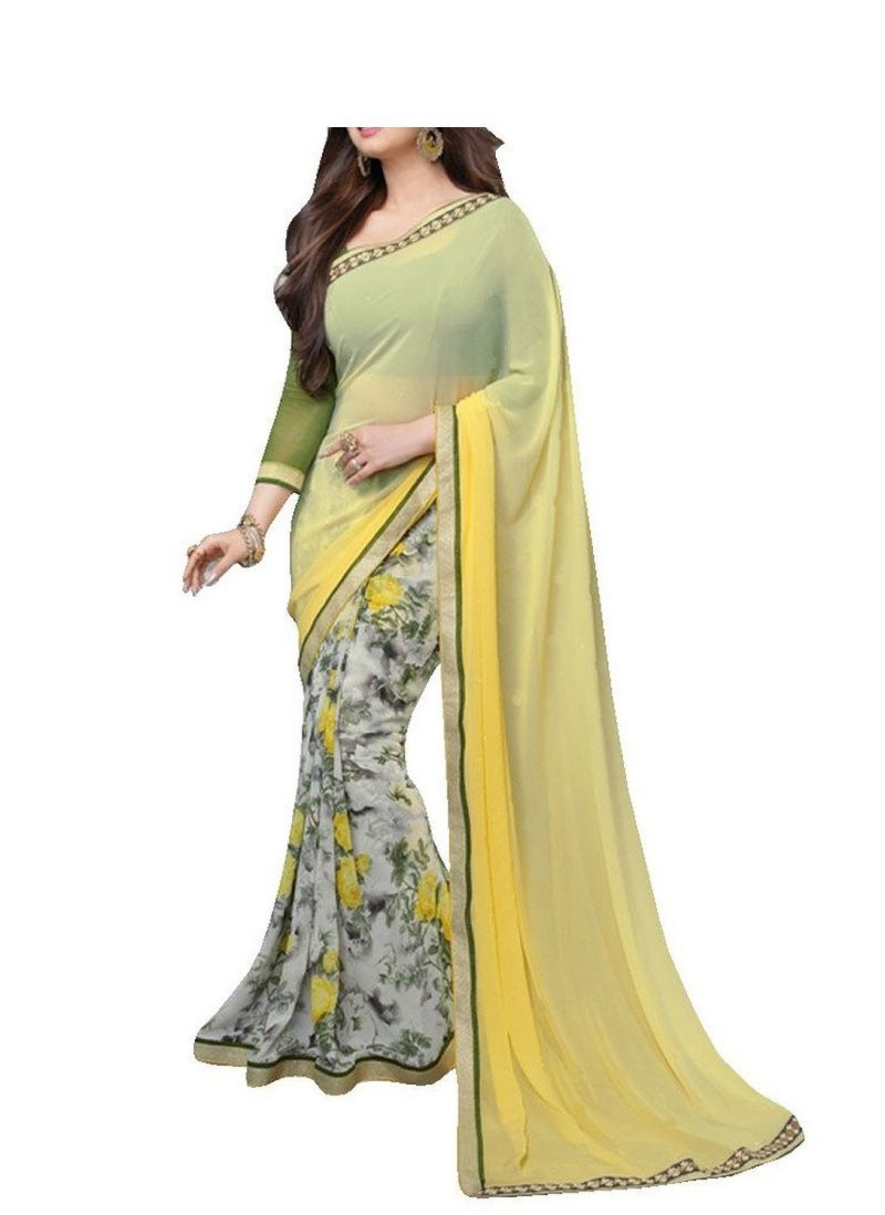 Buy See More Beautiful Yellow Georgette Saree With Blouse Pics online